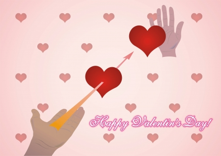 Happy Valentine s day illustration with lovely hearth on pink background