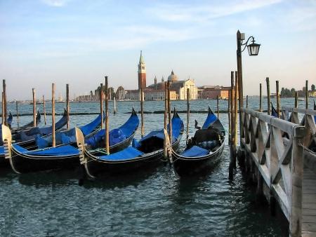 Gondolas moored by  San Marco Venezia, Italy   Stock Photo - 17478426