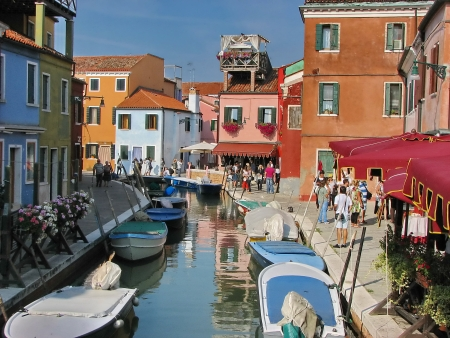 Part view of colorful island Burano, Venezia, Italy