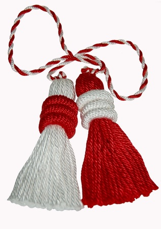 twined: Martenitsa - twined tasselled red and white thread, symbol of spring and health
