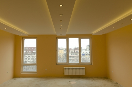 Look of renovating freshly painted room with modern LED lighting
