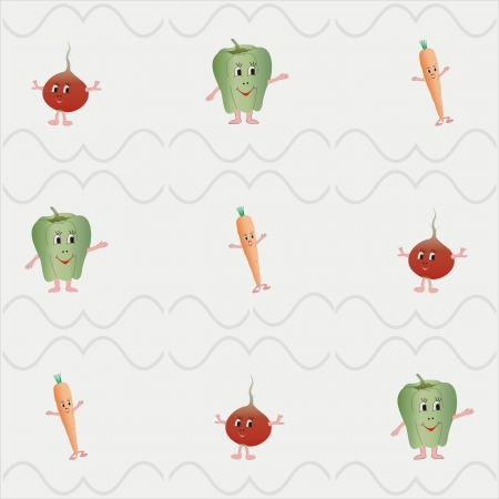 Cheerful vegetable  cartoon fresh color background of 5  grey Illustration