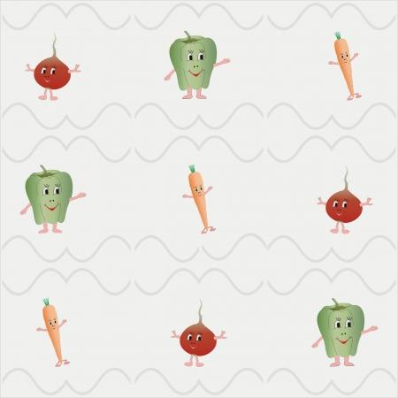 vegetable cartoon: Vegetal Alegre fondo fresco dibujos animados de color de 5 gris