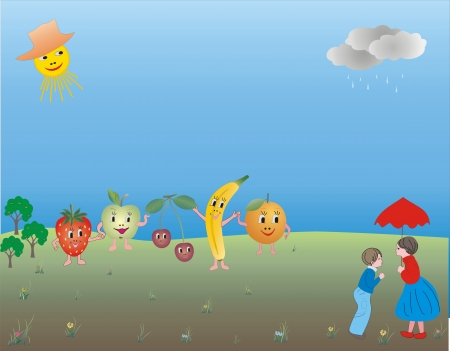 Cheerful company of fruits dance at sunny meadow Vector