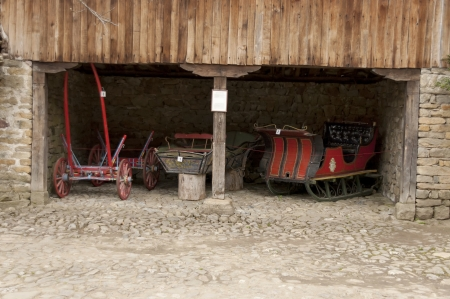 horse traction: Old cart and sled with horse traction in Architectural ethnographic complex  Etar