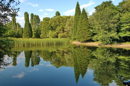 Beautiful landscape with reflection in South Park, Sofia Bulgaria Stock Photo