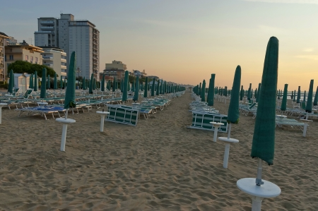 Morning at beach in Lido di Jesolo, Italy Imagens
