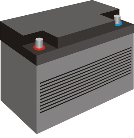 Generische schwarz Autobatterie mit Deckel isoliert auf weiß Vektorgrafik
