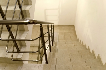 banisters: Staircase in new residential building with metal banisters