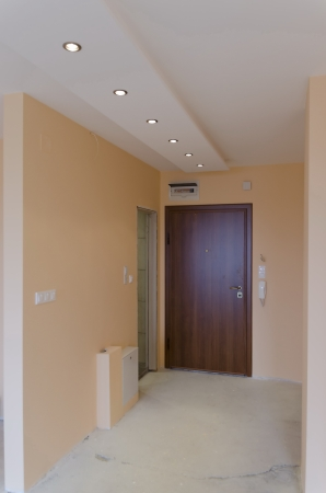 Entrance-hall in new living room with  LED lighting
