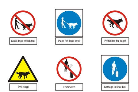 1052;andatory, warning, indicative, prohibited signs collection for dog and clean