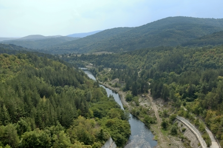 View after the dam wall at river Topolnica, Bulgaria  Stock Photo