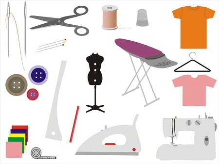Set of 17 icons vector for sewing and tailoring - needles, spool, thread, straight pins, thimble, mannequin, tape measure, bobbins, scissors, sewing machine, buttons, ironing board, cotton, hanger, pencil, chalk, iron Illustration