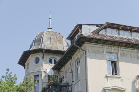 Fragment of roof construction on the renovated building Bulgaria