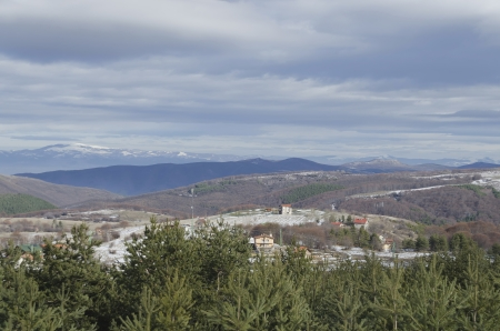 Panorama view in Plana mountain at winter