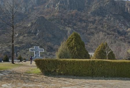 View of Rupite, Bulgaria, cross in memory peoples perished
