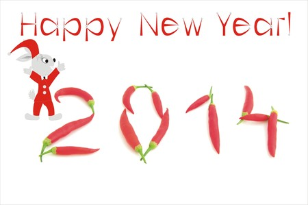 New Year s with chilli number and suitable symbol