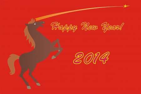 Happy New Year 2014 Chinese handwriting Year of Horse  Vector