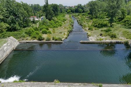 spillway: Beauty view of spillway in the reservoir Pancharevo, Bulgaria