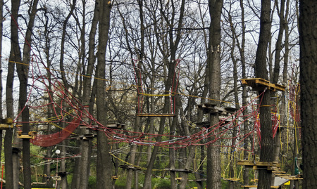 Fragment of rope sports facilities at adventure park, corner in the Borisova gradina, Sofia, Bulgaria photo