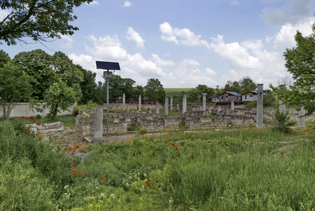 archaeological complex: Archaeological complex Abritus  with solar LED lighting in present town Razgrad, Bulgaria  Stock Photo