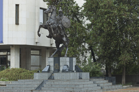 founder: Monument of Khan Asparuh or Isperih ruler and founder the Danube North Bulgaria, seven century in town Lovech, Bulgaria Stock Photo