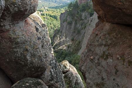 Belogradchik rock - look from one rock cleft, Bulgaria, Europe Stock Photo