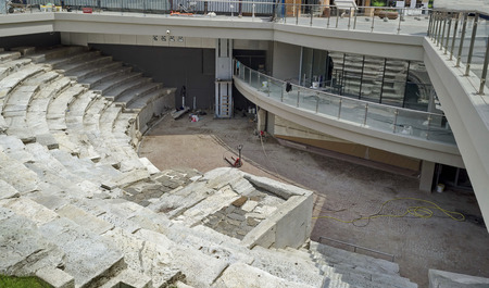 european culture: Excavations of ancient amphitheatre, Plovdiv town. Plovdiv town in preparation of European   Capital of Culture in 2019, Bulgaria. Stock Photo