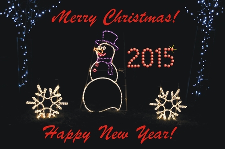 Greeting for Christmas and New Year 2015! Luminous combination of snow-man and small trees with snowflake. photo