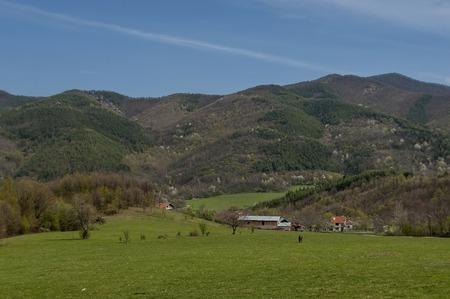 restored: Part of Pravets (Pravetz) Municipality in central western Bulgaria, Balkan mountain, restored Praveshki hanove and lake