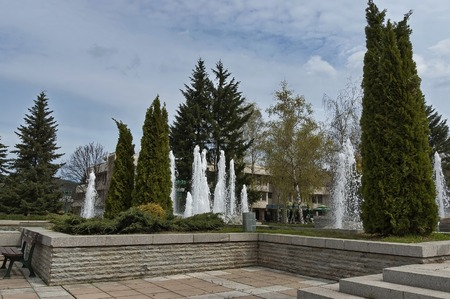 central square: Fountainin like natural spring in the central square of Pravets (Pravetz) town, Bulgaria