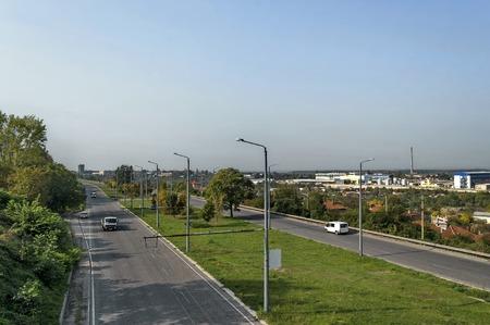 autobahn: Highway or Autobahn going into a curve, Ruse, Bulgaria Stock Photo