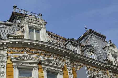 renovated: Ancient renovated building with rich decoration in Ruse town, Bulgaria, Europe