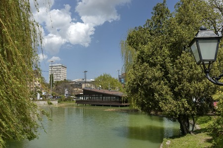 Springtime in the park whit lake and forest, Sofia, Bulgaria Stock Photo