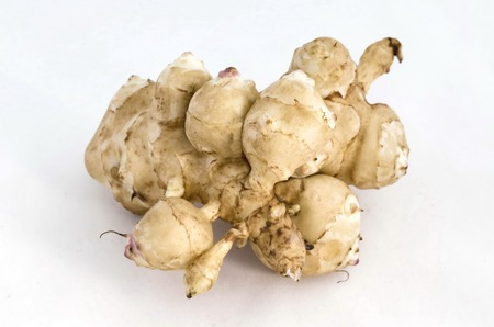 jerusalem artichoke: Topinambur or Jerusalem artichoke tuber vegetables, Sofia, Bulgaria