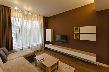 renovated: Living room in fresh renovated apartment with modern LED lighting, Sofia, Bulgaria