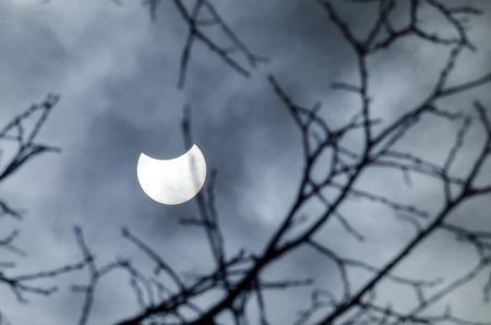 sofia: Partial Solareclipse march 20, 2015 - view from Sofia, Bulgaria, Europe Stock Photo