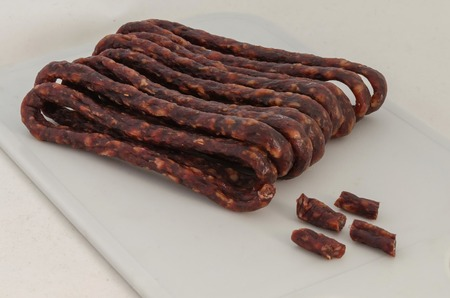appetizing: Bunch of appetizing dried spicy hunting  sausages