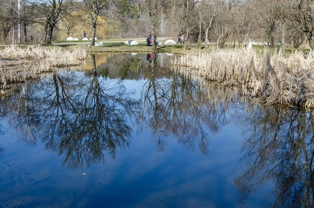 south park: Springtime landscape with reflection in South park Sofia Bulgaria Stock Photo