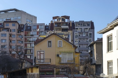 residential district: A residential district of old contemporary house and new construction together Sofia Bulgaria