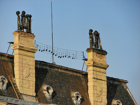 rooftile: Interesting roof at old building with combination of music notes