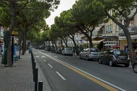 lido: Lido di Jesolo street at dusk Adriatic sea venetian Riviera Italy Stock Photo