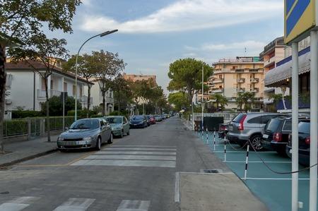 lido: Lido di Jesolo street to sea beach Adriatic sea venetian Riviera Italy Stock Photo