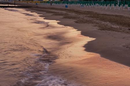 lido: Sunset picture of Lido di Jesolo beach Adriatic sea venetian Riviera Italy Stock Photo
