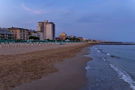 lido: Lido di Jesolo seaside coast beach at dusk Adriatic sea venetian Riviera Italy Stock Photo