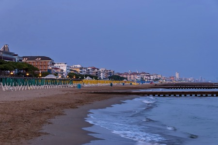 Lido di Jesolo seaside coast beach at dusk Adriatic sea venetian Riviera Italy Stock Photo