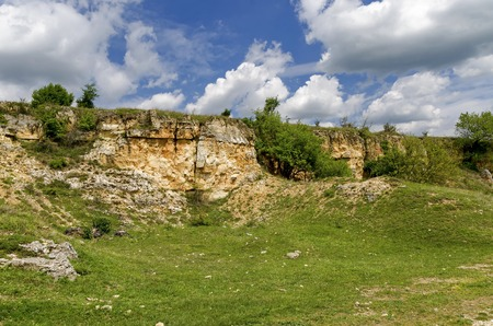 sedimentary: General view toward sedimentary rock in the field, Ludogorie, Bulgaria