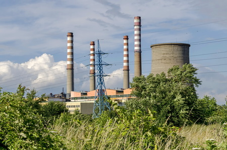close up chimney: Thermoelectric power plant Sofia Iztok, close up,  Bulgaria