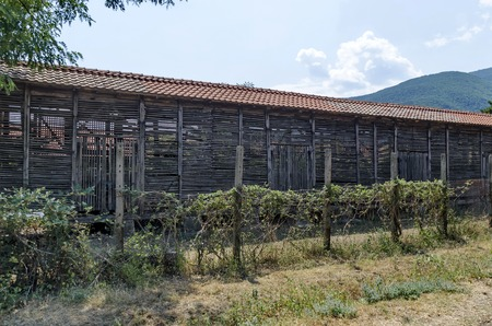 hayloft: Part of farmyard with authentic ancient hayloft at  Batkun Monastery St. St. Peter and Paul , Pazardzhik, Rhodope,   Bulgaria