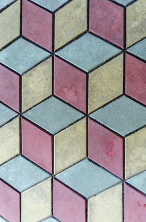 showy: Showy background  of three color tile pattern, Septemvri town, Pazardzhik, Bulgaria Stock Photo
